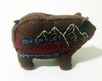 """Brown """"Prone To Wander"""" bear with mountain details"""