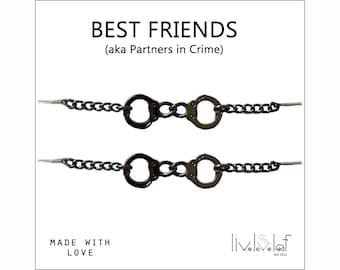 Best Friends Gunmetal Handcuffs Bracelets Partners in Crime BFF matching Handcuff bracelet for you and your partner in crime Christmas gift