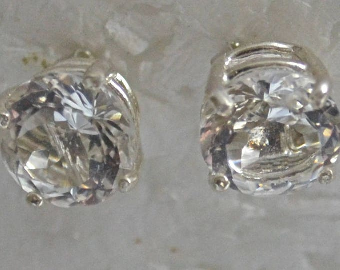 Crystal Quartz Earrings, 8mm Round, Natural, Set in Sterling Silver E1056