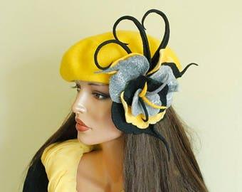 Yellow grey black brooch Felt flower Felted brooch  Multicolor felt flower Fancy flower