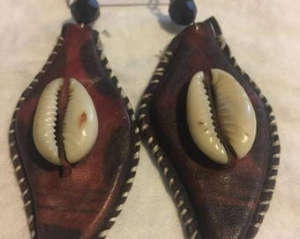 Pears Shape design West Afriican Leather Earring