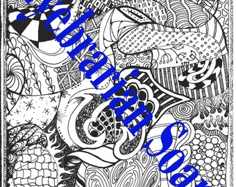 Tangle Coloring Page/Adult Coloring/Stress Relief/Meditiation/Download