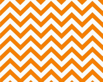 Handmade Table Runner 13W x 55L in Orange/White Chevron Ready To Ship