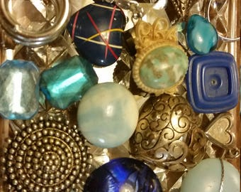 Blue and Silver Vintage Beads and Baubles Destash Inspiration Upcycle Mix Lot