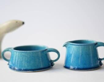 Rare! Vintage Kähler (HAK) Denmark - cream & sugar set - turqouise - 1960s - Danish mid century tableware