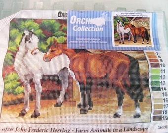 "Horse Needlepoint Canvas Farm Animals Handpainted on Cotton LARGE 9"" x 12"" Zweigart"