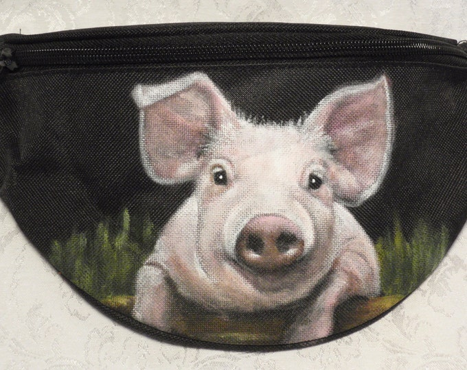 Featured listing image: Hip Bag aka Bum Pack painted with Ruby the sweet pig