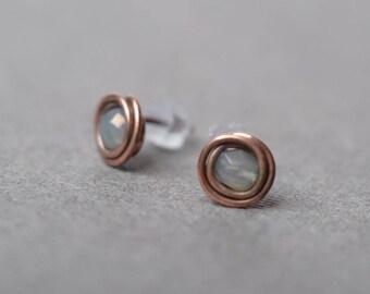 copper stud earrings simple stud rustic stud gift minimal earrings smoky gray earrings everyday earrings copper earrings modern earrings