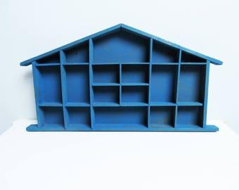 Large Wood display case, Shadow Box Miniature display case, House Shaped Shelf, Treasure Display, Printers Drawer, Kids Room Decor blue