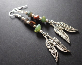 Indian Agates- Feathers- Dangle Jewelry- Accessories- Sterling Silver Plated French Hook Earrings- Unique Gift for Her- Gifts for Women