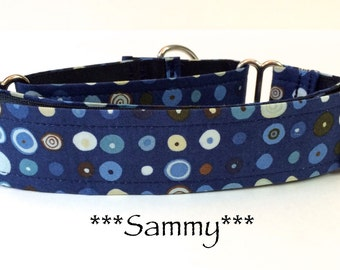 Martingale Dog Collar, Buckle Collar, Adjustable Dog Collar, Custom Dog Collar, Geometric dog collar, Blue Dog Collar, Modern Dots, Sammy