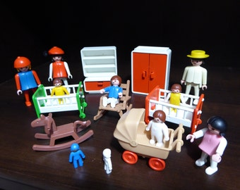 Vintage Playmobil Geobra Eight Figures and Nursery Accessories Circa 1974-81