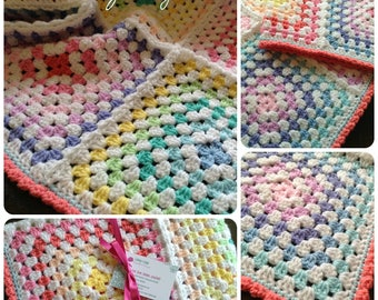 Handmade Crochet Rainbow Granny Squares Baby Blanket.  Great for a boy or a girl makes a lovely baby shower gift.