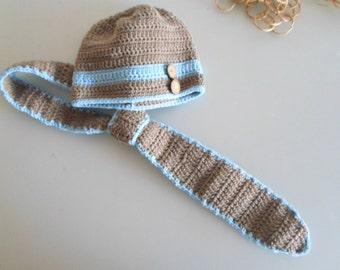 Newborn photo prop boy, newborn baby boy, newborn set, newborn hat, baby crochet hat and tie set, ecofriendly, newborn photo outfit
