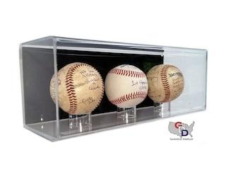 Acrylic Wall Mounting Baseball Display Case for 3 Baseballs