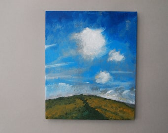Summer Breeze Landscape Painting Original Art Acrylic on Canvas Skyscape Cloudscape Countryside Blue Sky White Clouds Green Yellow Hills