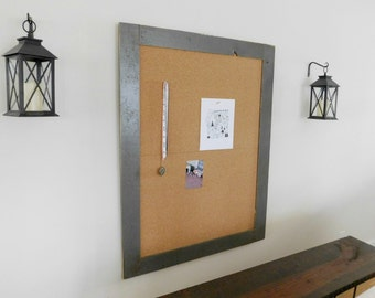 Extra Large Wood Framed Corkboard / Cork Board Vintage Look Distressed Shown in Graphite 36 x 48 *READY TO SHIP*