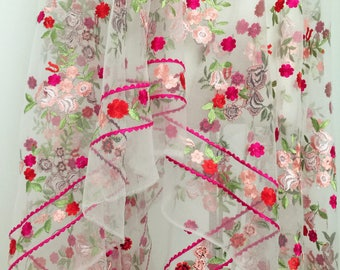 Detailed Floral Embroidered Lace Fabric , Lace Fabric by the Yard Bridal , Fahison and Apparel Lace Fabric