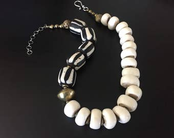 Kenyan Batik Cow Bone and Brass Necklace