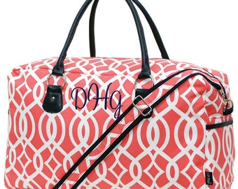 Monogram Weekender Bag | Personalized Overnight Bag | Monogram Duffle Bag | Monogrammed Luggage | Coral Vine Navy Trim Duffel