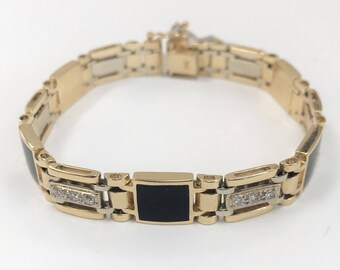Men's Bracelet with Onyx & Diamonds