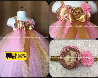 Beautiful pink and gold tutu dress first birthday for baby girls  12-18 months