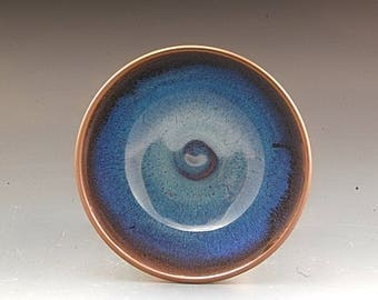 Handmade Pottery Bowl Plum and brown Stoneware by Mark Hudak