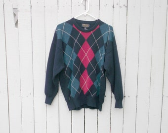 Vintage Preppy Brooks Brothers Navy Argyle Wool Sweater szL