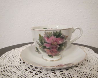 Tea Cup and Saucer , Floral pattern , Gold Trim ( C-2 )