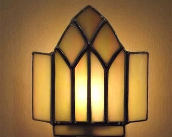 Stained Glass Night Light  Gothic Window Yellow Iridescent Glass Free Domestic Shipping