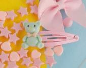 Cute Bear Hair Clip, Cute Teddy Bear Hair Clips Easter Hair Clip Cute Pastel Hair Clips Kawaii Fairy Kei Hair Clips Girl Hair Clips