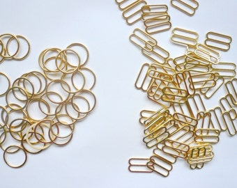Bra / Lingerie Making. Quality Gold Coloured Metal Sliders and Rings. 10mm Wide