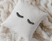 Throw Pillow - Lashes, Handmade in USA, 100% Organic Cotton, Calligraphy Home Decor, Shop Small, Housewarming gift, Cushion Cover