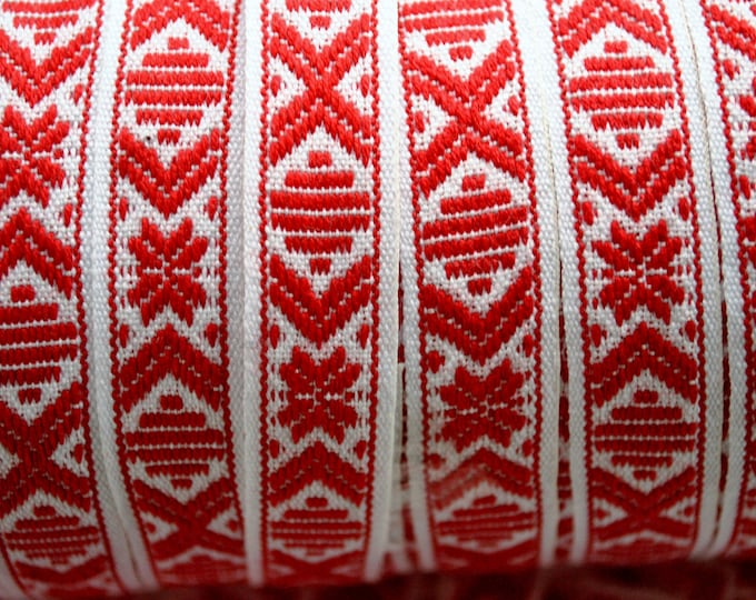 Swedish Folk Art Ribbon Red & White Star Hand Woven Scandinavian Per Yard