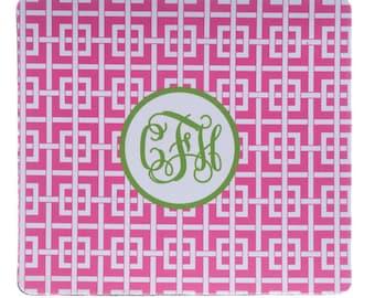 Preppy Monogrammed Mousepad - Personalized Graduation Gift- Pink Greek Key Mousepad