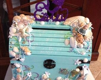 Under the sea card box, treasure chest card box, beach wedding,