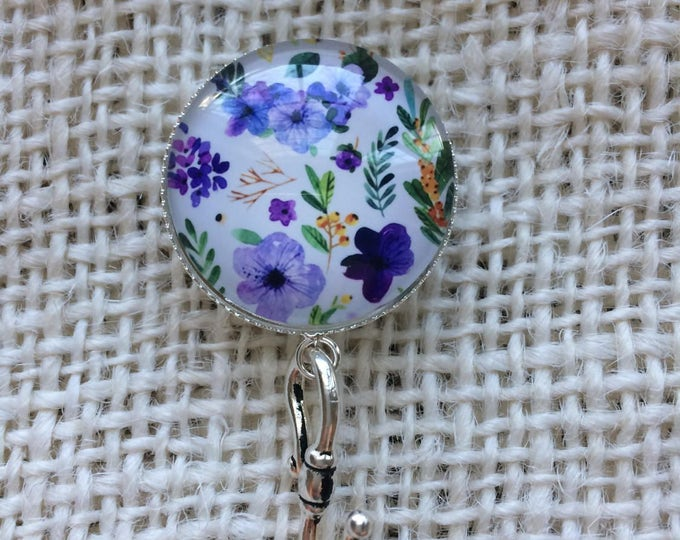 Knitting Pin - Magnetic Knitting Pin for Portuguese Knitting - Purple Flower