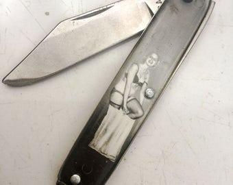 Vintage Pin Up Girl knife fob risque play boy USA pocket knife vintage naughty dudes men sexy Novelty LA eb