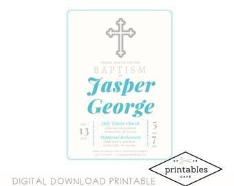 BOY Baptism/First Communion/Confirmation Digital Printable Invitation Spanish Español English Ingles niño bautismo comunion christening