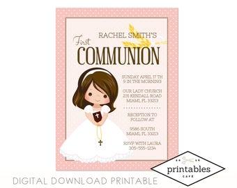 Pre-Made Girl First Communion Invitation DOWNLOAD DIGITAL PRINTABLE pdf english spanish español primera communion niña hembra twins gemelas