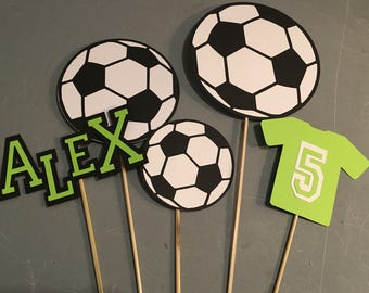 Soccer centerpiece, Soccer birthday, Soccer party, Sports party