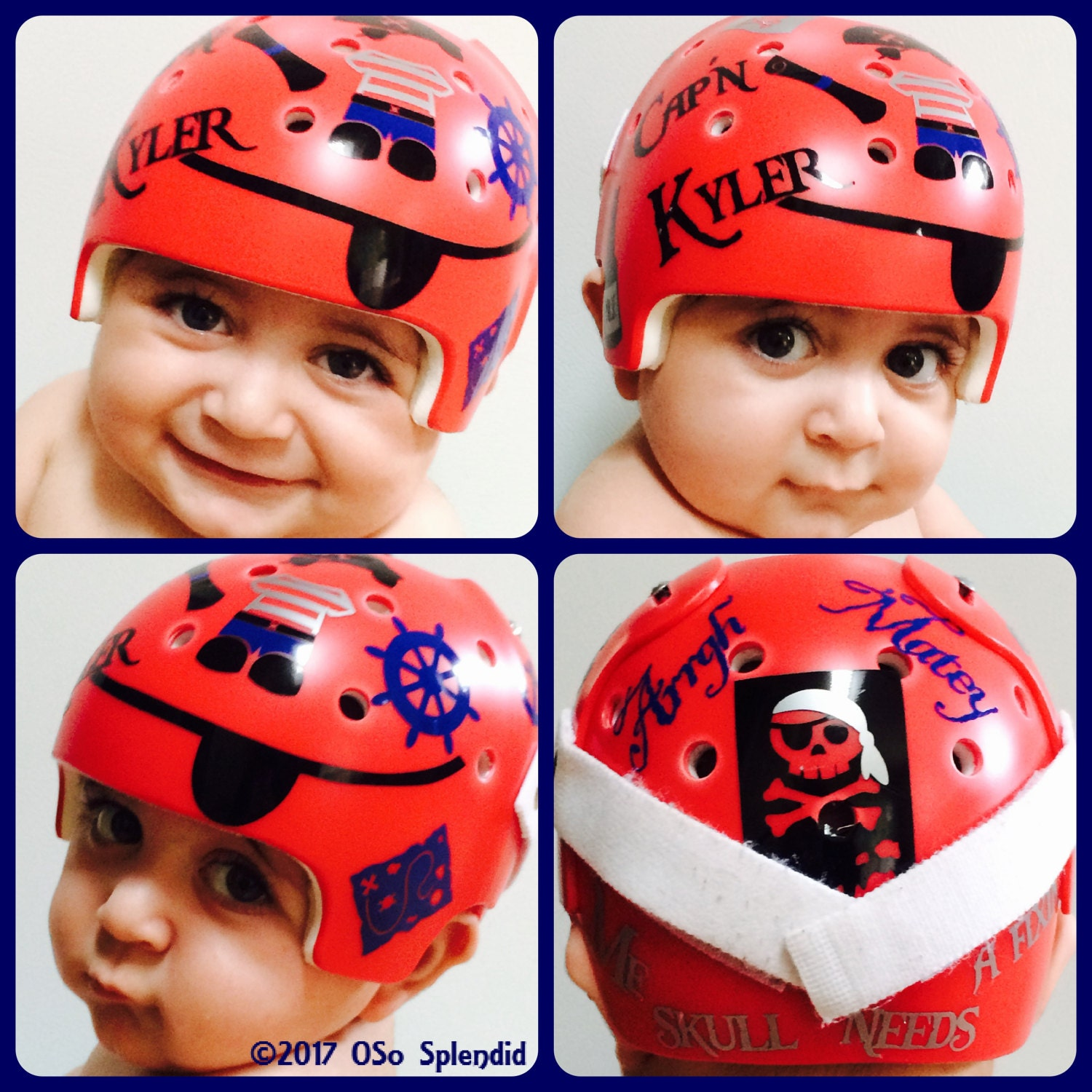 Personalized Cranial Band Pirate Design Me Skull Needs A - Baby helmet decalspersonalized cranial band fairy decals just tinkering