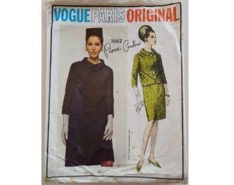 """Vintage 60's Vogue Paris Original #1662 Pierre Cardin Jacket, Pencil Skirt Suit Sewing Pattern Size UK 14 Bust 36"""""""