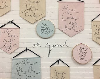 Pink or Mint Bespoke Banner - Handmade Interiors Decoration - Choose a quote or words that mean something to you