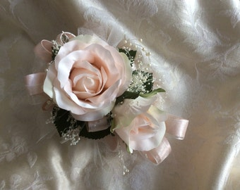 Wrist corsage with matching boutonnière