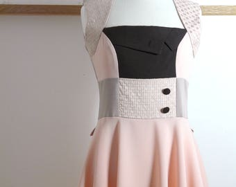 Size L/XL - Swing Dress 'Grace Kelly' in Peach and Pale Biscuit