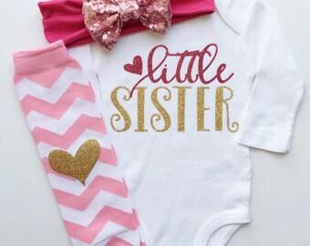 Little Sister Bodysuit, Baby Girl Clothes, Little Sister Outfit, Sister Outfits, Matching Sister Shirts, Newborn Take Home, Newborn Girl