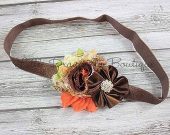 RTS Brown & orange harvest headband {harvest vintage, Thanksgiving headband, brown headband}