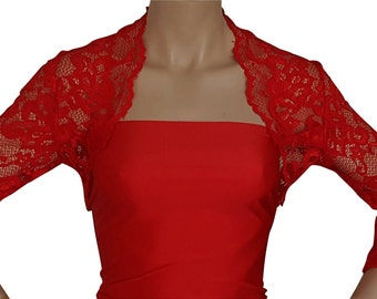 Ladies stretch lace bolero in red or pale grey with 3/4 sleeves in sizes UK 10 to 20