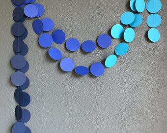 Blue Ombre Paper Garland Boy Baby Shower Decor Blue Party